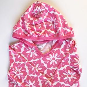 Gap Kids Beach Coverup Hood Pink Floral Size S 6-7